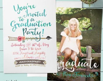 Boho Graduation Invitation, Graduation Announcement, Graduation Party Invitation. Printable or Printed. Teal, Peach, Coral, Mint, Aqua, Pink