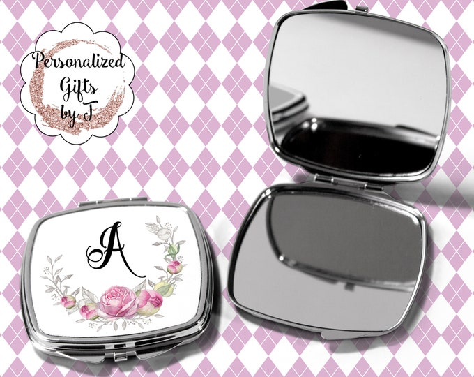 Pocket Mirror, Bridesmaids Gifts, Personalized Bridesmaid Gift, Personalized Compact Mirror, Monogrammed Mirror design 1123