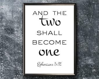Scripture Wall Art | Ephesians 5 31 | Bible Verse Print | Two Shall Become One | Christian Wall Art | Ephesians 5 Print | Scripture Print