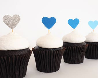 READY TO SHIP! Mini heart cupcake toppers   Ombre blue silver glitter love heart toppers   Baby shower toppers   Engagement toppers