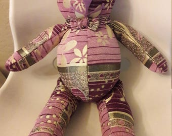 Purple Lavender Silver Embroidery Bear, Wedding Present, Bachelorette, Birthday, Valentines Day gift.  Repurposed fabric by Vintage Angel