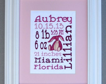 Cuddle Bunny - Custom Embroidered Birth Announcement Keepsake