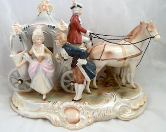 German Porcelain Figurine: Courting Couple with 2-Horse Carriage, Fancy Dress