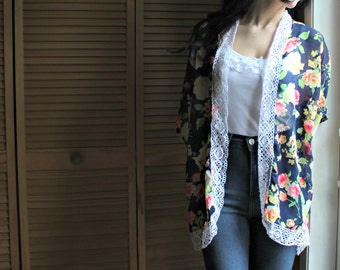 Handmade. Floral. Kimono. Sheer. Crochet/lace. Very pretty. Light weight! Perfect for the summer time!
