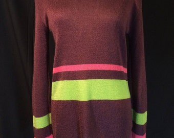 Vintage Bloomingdale's France Purple Striped Knit Pullover Sweater Shirt Chic