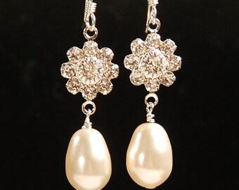Dangle Rhinestone & Pearl Earring, Flower Bridesmaid Earring, Swarovski Elements Pearl Jewelry, Wedding Bridal Earring, Sterling Silver