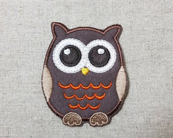 Dark Brown Cute Night Owl Embroidered Patch 2.4 x 2.9 inch (6.2 x 7.3 cm)