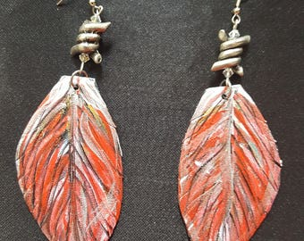 Red Leafling statement earring