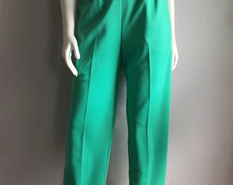 Vintage Women's 70's High Waisted Polyester Pants, Turquoise, Tapered Leg (M)