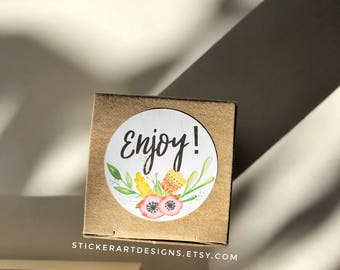 Bulk Enjoy Stickers, Enjoy Packaging Stickers, Product Shipping Labels, Thank you packaging stickers,THANK YOU Stickers, Custom Logo Sticker