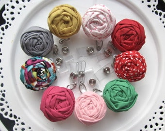 Any 3 Fabric flower badge reels, retractable ids, women accessories