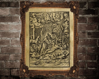 Danse macabre poster, Medieval wall decor, litography print,  Creation of eve, ancient image, dark art