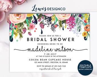 Bridal Shower Invitation   Watercolor bridal invite   Floral Bridal Shower Card   Instant Digital Download File PDf   Flower Bride DIY   Do