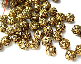 2 Vintage SWAROVSKI BEADS crystal ball 8mm, UNIQUE color rhinestones in brass setting