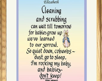 Cleaning & Scrubbing Can Wait Framed New mom baby gift