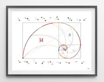 Fibonacci sequence Watercolor Print science art fibonacci series poster golden section print fibonacci numbers spirals pattern math wall art