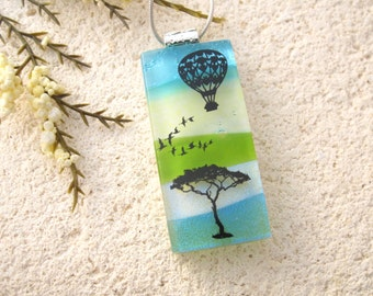 Hot Air Balloon, Dichroic Glass Jewelry, Fused Glass Necklace, Glass Necklace, Dichroic Jewerly, Necklace Included, Ballooning 010916p110