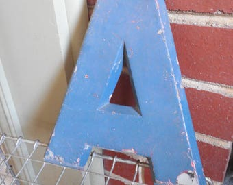 "Industrial 8"" Metal Theater Marquee Letter A - Vintage Cast Aluminum Adler Sign"
