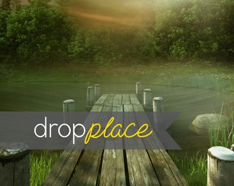 Foggy Wood Lake Dock Landscape Printed Photography Backdrop Background (Material and Size Options Available)