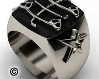 Modern Baha'i Ring - Silver one-of -a -kind eye-catching Ring, 925 Sterling Silver