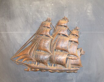 Vintage Sailing Pirate Ship Wall Hanging Syroco Coppercraft Guild
