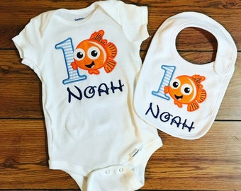 Applique Nemo Onesie and Bib Set-- personalized with name