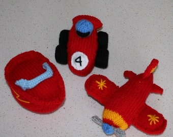 Race Car, plane and speed boat - INSTANT DOWNLOAD PDF Knitting Pattern