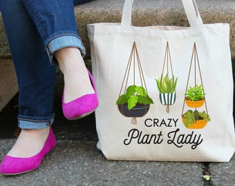 Crazy Plant Lady XL Canvas Tote