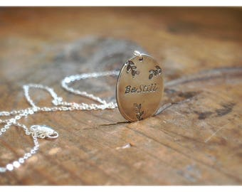 Be Still Scripture Hand stamped Sterling Silver Necklace