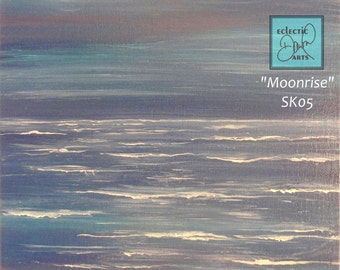 """Ocean Moonrise Painting on Canvas,  pink, blue, lavender, 11 x 14, """"Moonrise"""", SK04 FREE SHIPPING"""