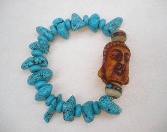 Little Buddha and Turquoise Stone Zen Bracelet