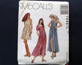 1995 Button Front Dress, Sleeveless or Short Sleeve, Uncut Vintage Pattern, McCalls 7545, Size 12, Bust 34