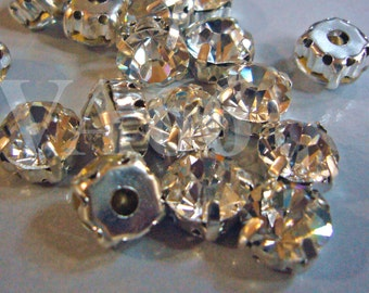 DIY Crystal Clear Col Round Rose Montee Faceted Sew On Glass Rhinestone Beads 9mm 15p Vintage Look 4 hole Pronged Silver Diamond Separators