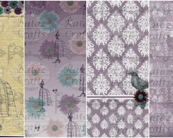 Zoey Digital Paper Pack, A4, 16 High Quality Images, Complete with Ephemera, Instant Download