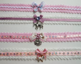 Four Sweet Lolita Chokers. Very Kawaii. Victorian.