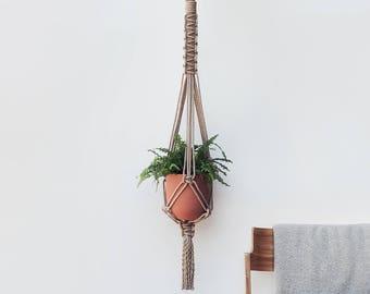 Macrame Plant Hanger // Jute // Long length 125cm // Hanging Planter // Macrame Plant Holder // Pot hanger // Indoor Hanging Planter // Gift