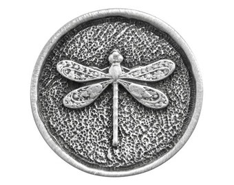 2 Round Dragonfly 15/16 inch ( 24 mm ) Pewter Metal Buttons Antique Silver Color