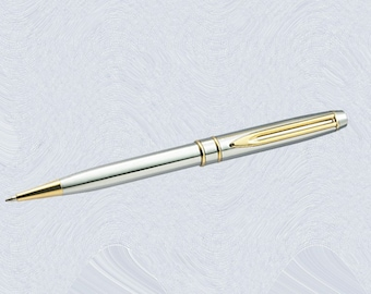 Personalized Engraved Ballpoint Pen custom engraved Silvertone 3332B for groomsmen, father, graduation, executive gifts