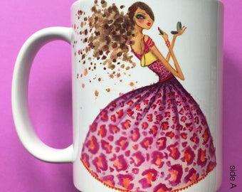 Lena Lipstick, Coffee Mug, Fashion illustration, Bella Pilar, Fashion mug