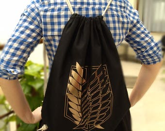 Attack on Titan backpack with Wings of freedom overprint. Drawstring available with metallic, dark gold overprint.