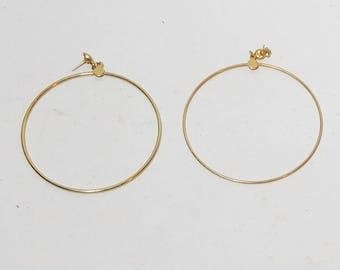 "Large Hoop Earrings, Drop Hoop, Pierced, 2 1/4"" Wide, Gypsy Earrings, Hippie Hoops, Boho Hoops, Wide Hoop Earrings, Gold Hoop Earrings"
