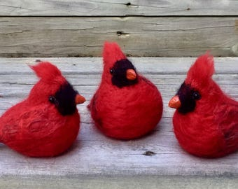Felted Red Cardinal/Tree ornament/ Christmas bird/ Holiday Tree Decor/ Felt Red ornament/Christmas Decoration/ Needle felted bird/ Red Decor
