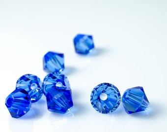 Sapphire Bicone Crystal Beads