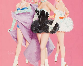 Pin Up Girl Art Print Reproduction, Four Ice Skaters by Gil Elvgren