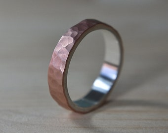 6mm Mens Copper and Silver Ring, Mens Copper Ring, 6mm Mens Hammered Copper Wedding Band Ring, Hammered Copper Silver Wedding Ring
