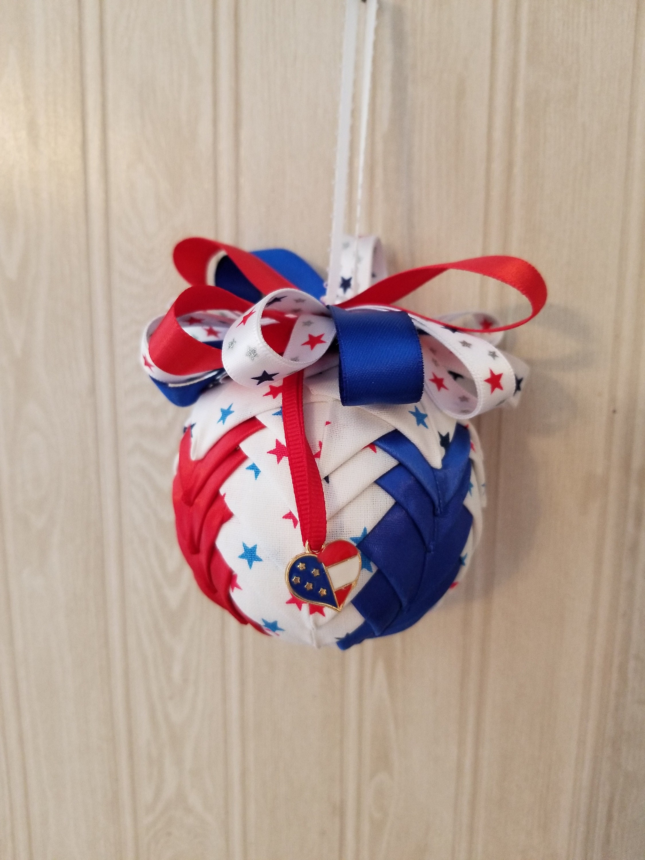 Festive Patriotic Fabric Ornament with Charm