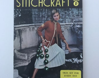 Vintage Stitchcraft Magazine, Knitting and Stitching Magazine, Pattern Booklet, December 1956, Vintage Haberdashery