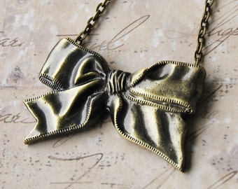Bronze Ribbon Bow Necklace