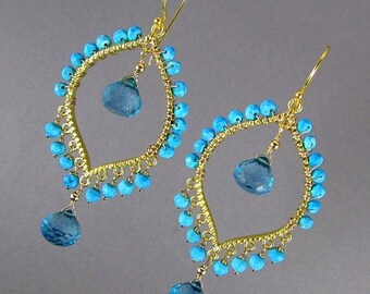 15% Off Blue Quartz With Turquoise Gold Bohemian Style Earrings