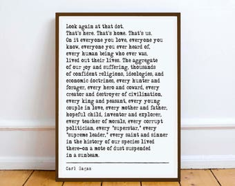 Carl Sagan Quote - Pale Blue Dot - art print poster literary gift  literary quote
